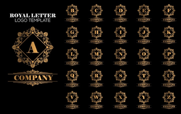 Vetor de modelo de logotipo de ouro royal vintage luxuoso