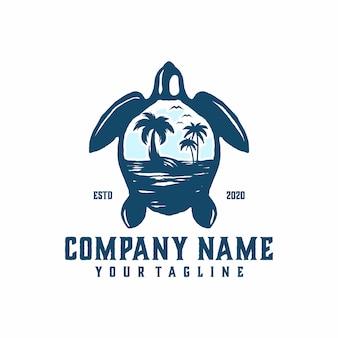 Vetor de modelo de logotipo de praia de tartaruga
