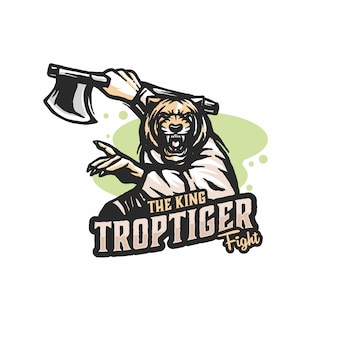 Vetor de modelo de logotipo de tigre lutador