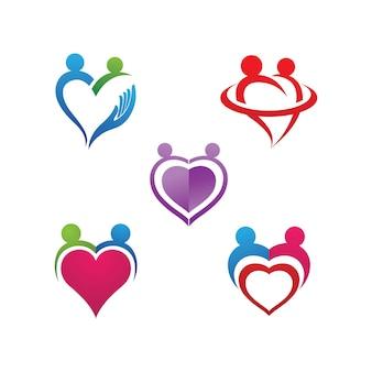 Vetor de modelo de logotipo e símbolo de cuidados familiares