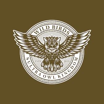 Vetor de modelo de logotipo retrô de coruja