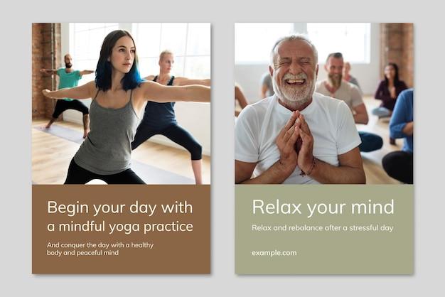 Vetor de modelo de marketing de bem-estar de ioga para conjunto duplo de pôster de estilo de vida saudável