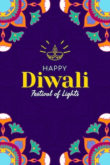 Vetor de modelo de mídia social do festival de diwali