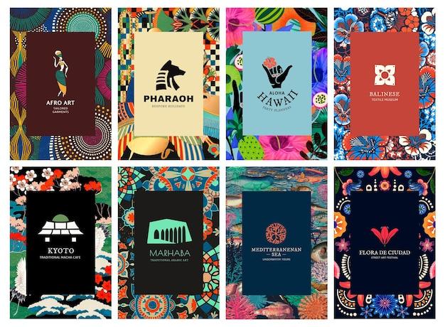 Vetor de modelo de padrão étnico para conjunto de marcas, remixado de obras de arte de domínio público