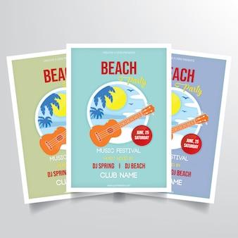 Vetor de modelo de panfleto de festa de praia