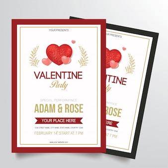 Vetor de modelo de panfleto de festa dos namorados