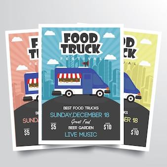 Vetor de modelo de panfleto de festival de caminhão de comida