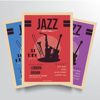 Vetor de modelo de panfleto de festival de jazz