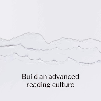 Vetor de modelo de papel artesanal rasgado com postagem de mídia social de citação de amante de livro
