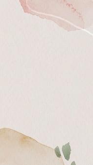Vetor de modelo de papel de parede de celular com padrão aquarela rosa e marrom