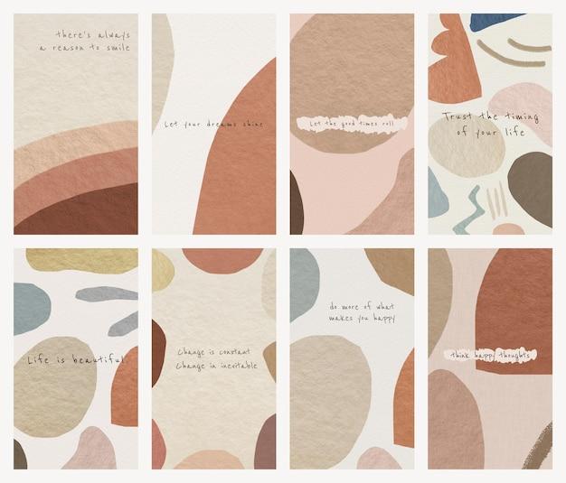 Vetor de modelo de papel de parede de telefone definido design abstrato de tom de terra com citações motivacionais