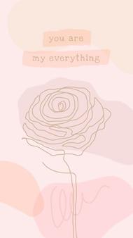 Vetor de modelo de papel de parede rosa para iphone com flor rosa