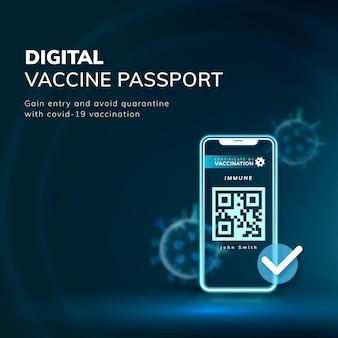 Vetor de modelo de passaporte de vacina digital covid-19 postagem em mídia social de tecnologia inteligente