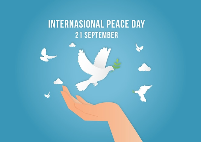 Vetor de modelo de plano de fundo do dia internacional da paz com a mão