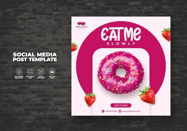 Vetor de modelo de pós-modelo de promoção de venda de donuts social media