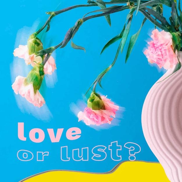 Vetor de modelo de post instagram, design floral psicodélico abstrato com citações românticas