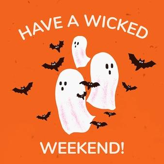 Vetor de modelo de postagem de mídia social, ilustração de fantasma branco de halloween com saudação