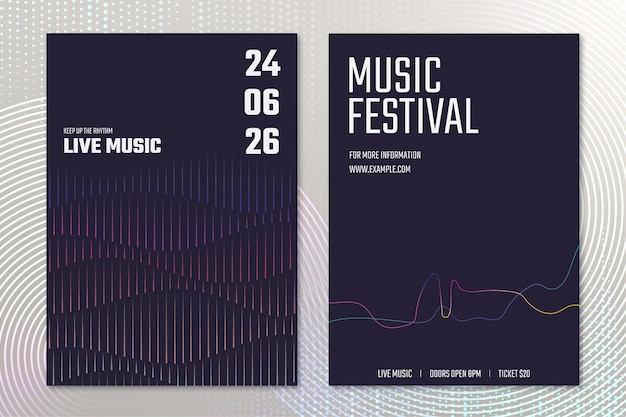 Vetor de modelo de pôster de concerto de música com gráficos de ondas sonoras para conjunto de anúncios