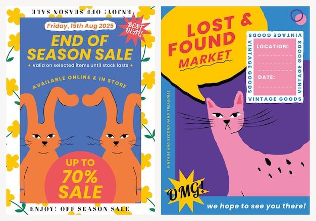 Vetor de modelo de pôster de venda editável com conjunto de ilustração de animais fofos