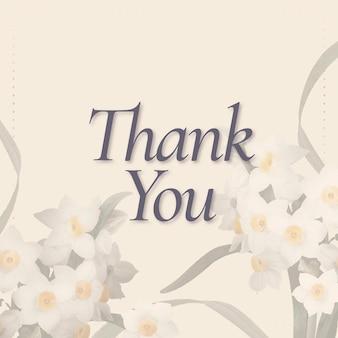 Vetor de modelo de primavera editável com texto de agradecimento