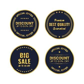 Vetor de modelo de produto distintivo dourado e etiqueta premium