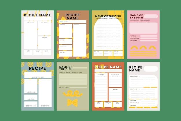 Vetor de modelo de receita de comida doodle na coleção de padrão de comida de massa