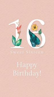 Vetor de modelo de saudação de 16º aniversário com ilustração de número floral