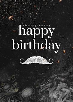 Vetor de modelo de saudação de aniversário de cavalheiro com ilustração de bigode