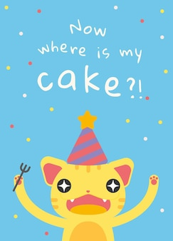 Vetor de modelo de saudação de aniversário de criança com desenho de gato fofo faminto
