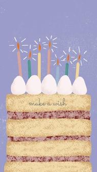 Vetor de modelo de saudação de aniversário online com bolo fofo e texto de desejo