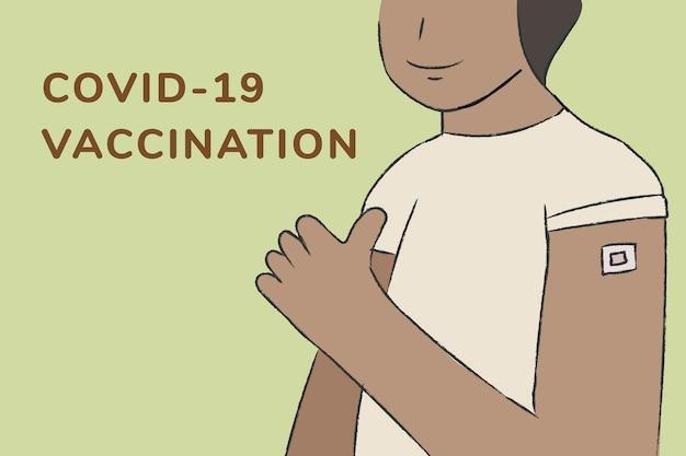 Vetor de modelo de saúde com texto de vacinação covid19
