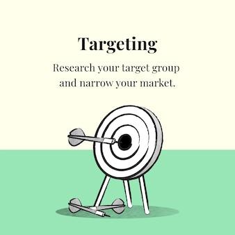 Vetor de modelo de segmentação de negócios com dardo e flecha no banner bege e verde