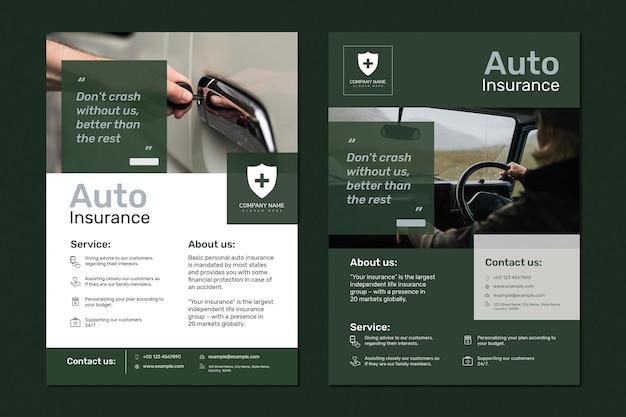 Vetor de modelo de seguro automóvel com conjunto de texto editável