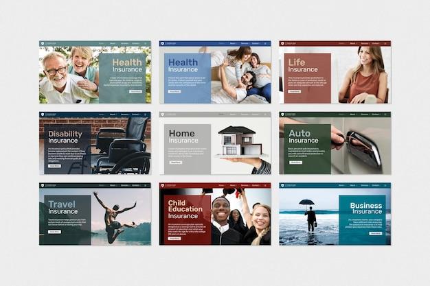 Vetor de modelo de seguro com coleção de texto editável compatível com ia