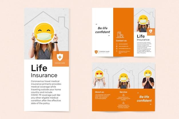 Vetor de modelo de seguro de vida com conjunto de texto editável