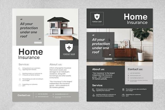 Vetor de modelo de seguro residencial com conjunto de texto editável
