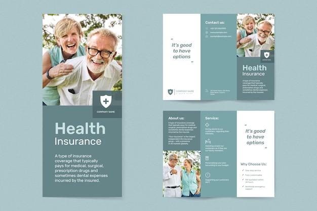 Vetor de modelo de seguro saúde com coleção de texto editável
