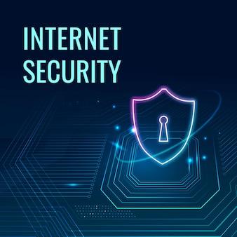 Vetor de modelo de tecnologia de segurança de internet para postagem em mídia social em tom azul escuro