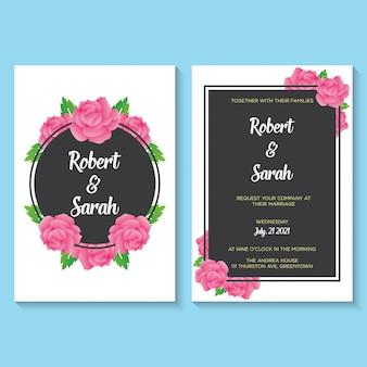 Vetor de modelo de tema de flores e folhas de convite de casamento