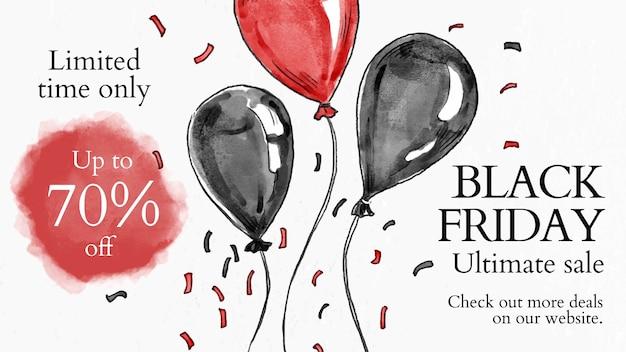 Vetor de modelo de venda black friday para banner de blog