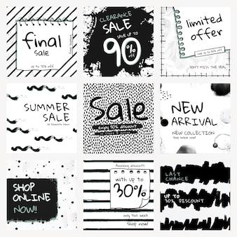 Vetor de modelo de venda editável com conjunto de padrão de pincel de tinta