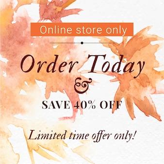 Vetor de modelo de venda estética de outono com anúncio de texto de mídia social do pedido hoje