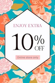 Vetor de modelo de venda floral primavera com banner de anúncio de moda de rosas coloridas