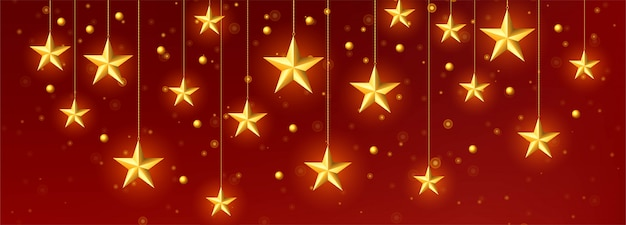 Vetor de modelo decorativo dourado estrelas de natal