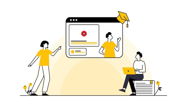 Vetor de modelo editável de aprendizagem online para mídia social publica educação no novo normal
