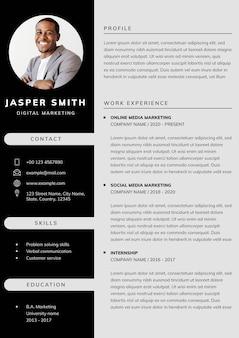 Vetor de modelo editável de cv profissional para profissionais e nível executivo