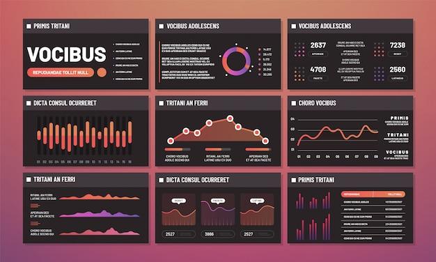 Vetor de modelos de apresentação, painéis de infográfico. páginas de interface de infográfico moderno