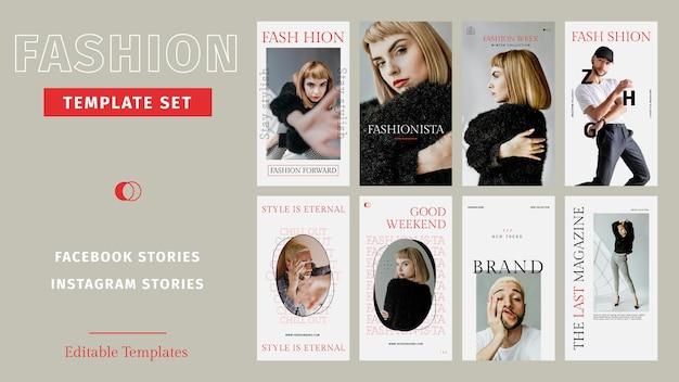 Vetor de modelos de moda editáveis para histórias de mídia social