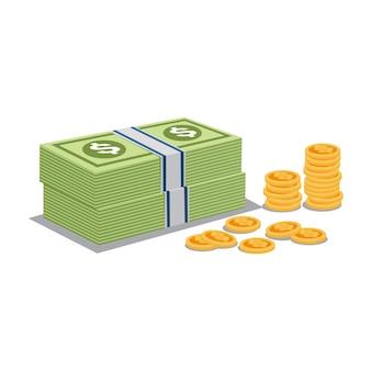 Vetor de moedas de dinheiro e ouro