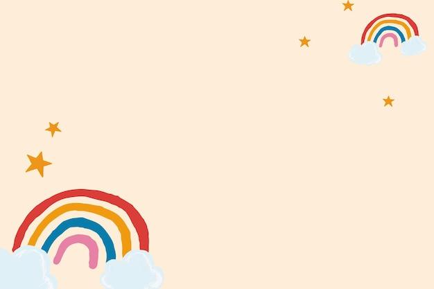 Vetor de moldura de arco-íris fofo em estilo bonito desenhado à mão de fundo bege